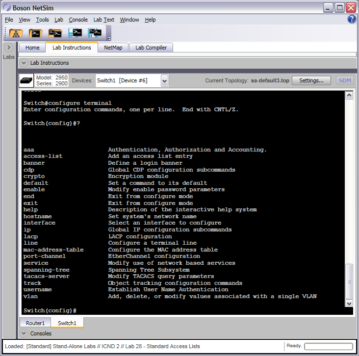Global Configuration Mode Switch Commands