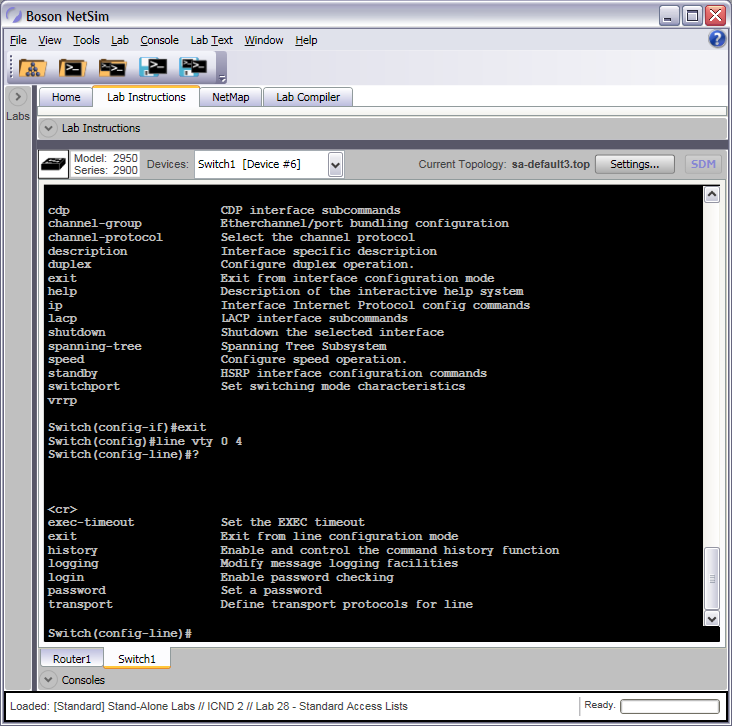 Line Configuration Mode Switch Commands