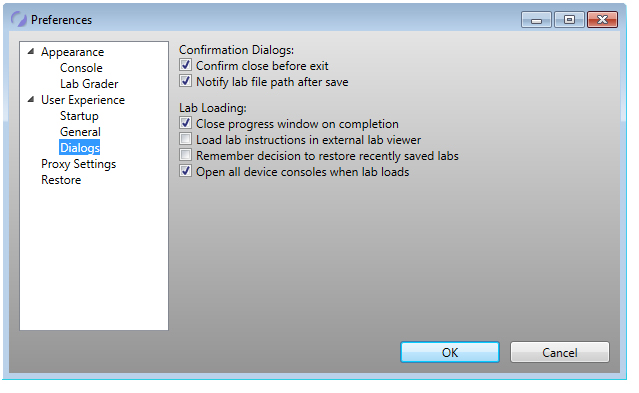 network simulator preferences settings