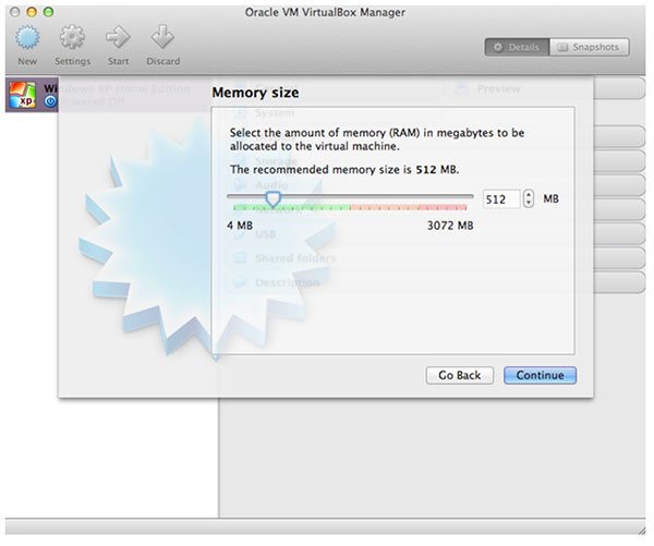memory size vm manager
